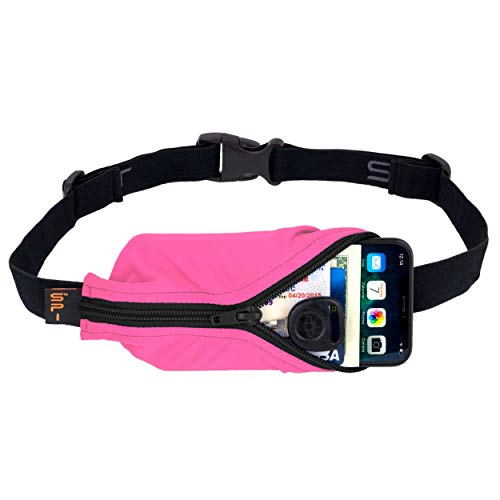 """SPIbelt Running Belt Large Pocket, No-Bounce Waist Bag for Runners, iPhone 6 7 8-Plus X Athletes and Adventurers (Hot Pink with Black Zipper, 25"""" Through 47"""")"""
