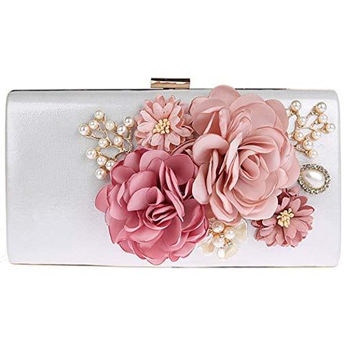 Ankoee - Bolso de mano con diseño de flores, Blanco (Argent-blanc), 22x4x12cm