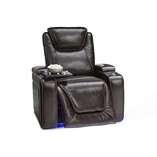 Seatcraft Equinox - Home Theater Seating - Top Grain Leather - Power Recline - Powered Headrest and Lumbar Support - Arm Storage - USB Charging - Cup Holders - Single Recliner, Brown