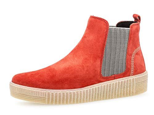Gabor Damen Chelsea Boots 33.731, Frauen Stiefelette,Stiefel,Halbstiefel,Bootie,Schlupfstiefel,flach,rot/beige (Natur),41 EU / 7.5 UK