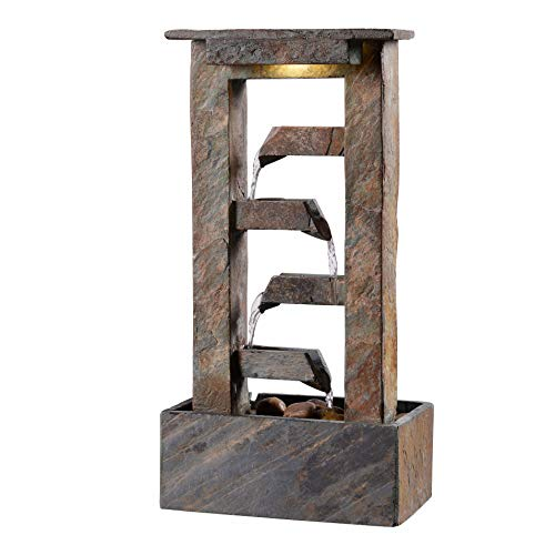Kenroy Home Rustic Indoor Table Fountain ,19 Inch Height, 10 Inch Width, 6 Inch Ext. with Slate (51046SL)