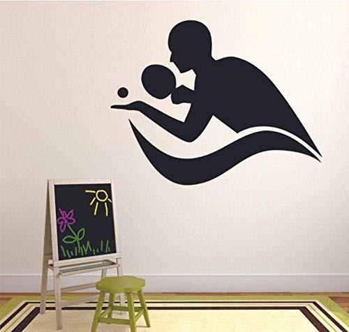 Wandaufkleber spielen Tischtennis Ping Pong Silhouette Türen und Fenster Jugendschlafzimmer Gymnasium Innendekoration 42X53cm