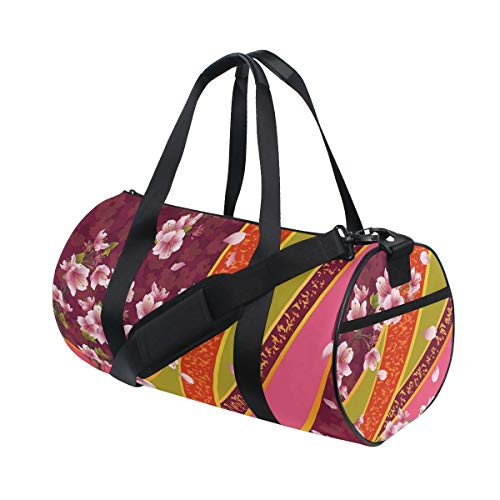 HARXISE Bolsa de Viaje,Telón de Fondo Oriental Sakura Blossom Cerezo japonés,Bolsa de Deporte con Compartimento para Sports Gym Bag