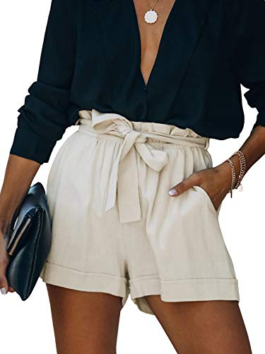 VLRSY Women's Elastic Waist Tie Belt Solid Color Casual Summer Shorts with Pockets Beige M