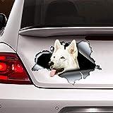 DONL9BAUER calcomanía para coche de pastor suizo blanco, calcomanía para coche de perro, pastor suizo, pegatina de pastor suizo