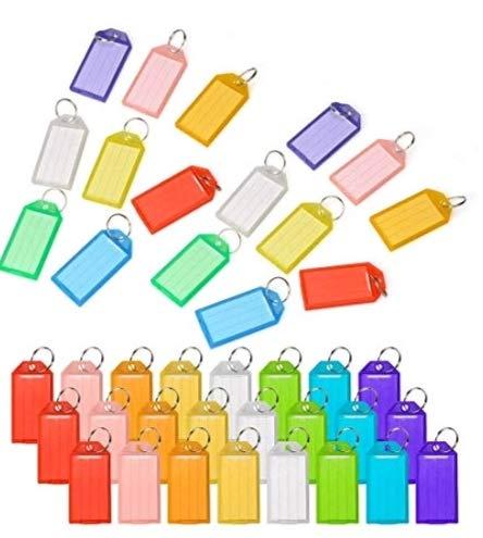 88 Stücke, mehr farbig Schlüsselschilder mit Stahldraht Ring zum Beschriften Label Key Tags auswechselbar Schlüsselanhänger mit auswechselbarem Etikett aus Plastik 8 Farben