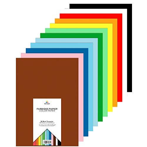 Tritart Buntpapier A3 300g I 36 Blatt festes Bastelpapier I stabiler Tonkarton zum Basteln I Fotokarton 12 Farben I DIY buntes Tonpapier I Bastelkarton