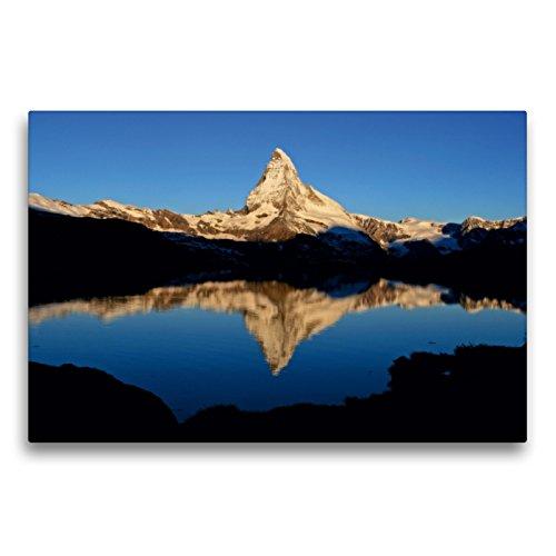 Premium Textil-Leinwand 75 x 50 cm Quer-Format Stellisee mit Matterhorn   Wandbild, HD-Bild auf Keilrahmen, Fertigbild auf hochwertigem Vlies, Leinwanddruck von Günter Franz Müller Fotografie