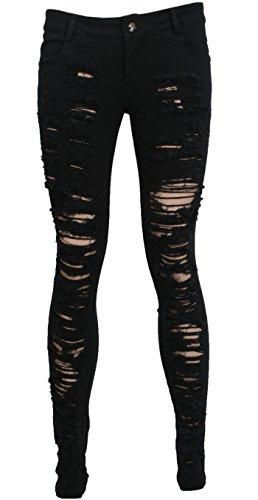 Punk Rave Jeans-Hose zerrissen schwarz Visual Kei Mode K-134 XXL