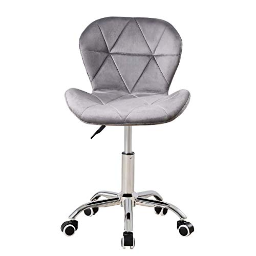 Hironpal Radi Small Office Chair Fabric, Armless Swivel Reception Chair Velvet, Easy Make-up Chair, for Office Home Living Room, Bedroom, Soho Furniture