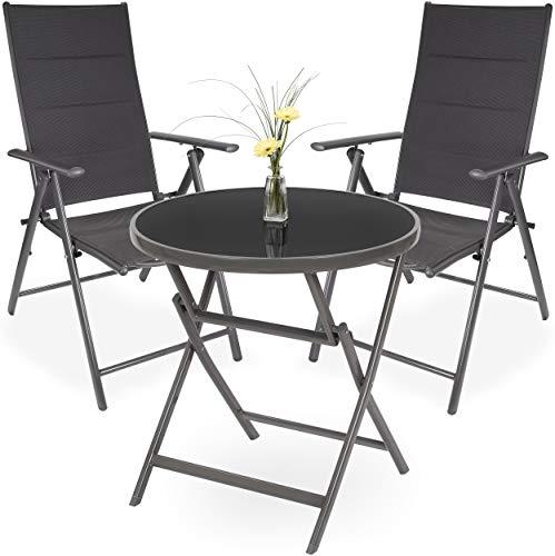 Brubaker Garten Sitzgruppe Riva - 1 Glastisch Klapptisch rund 70 cm Ø mit 2 Hochlehner Stühlen - Wetterfest - Silbergrau