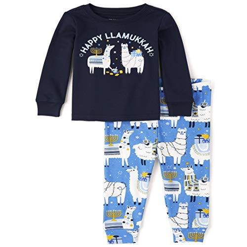 The Children's Place Boys' Unisex Baby and Toddler Matching Family Hanukkah Llama Snug Fit Cotton Pajamas, Keepsake Blue, 3-6 Months