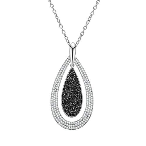 Ouran Women's Pendant Necklace Silver Rose Gold Long Chain Necklace with Black Diamond and Crystal Personalized Necklace for Best Friends (Water Drop, Silver Plated)