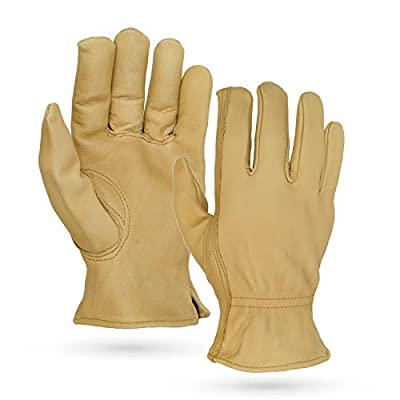 Illinois Glove Company, Water Repellent Grain Cowhide Gloves, Tan, Unlined