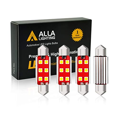Alla Lighting 211-2 578 LED Bulb White Festoon Interior Lights Xtreme Super Bright Dome Map Trunk Courtesy Light Replace Cars Trucks CAN-BUS 41mm 212-2 569 6413, 6000K Xenon (4pcs)