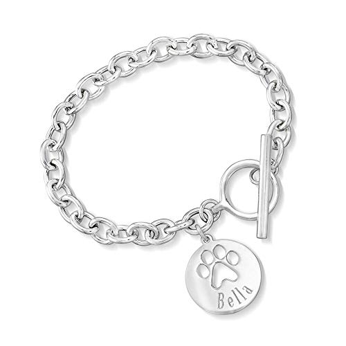 Ross-Simons Name - Sterling Silver Personalized Paw Print Bracelet. 7 inches