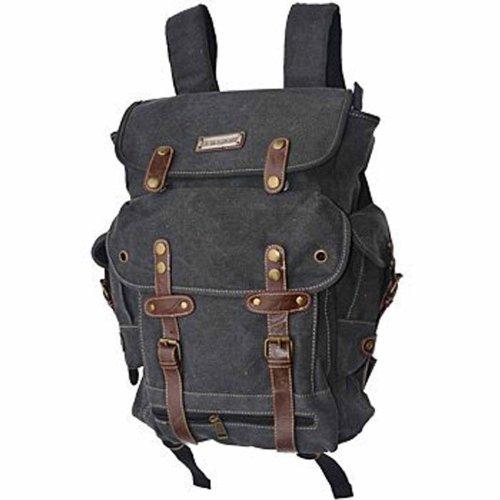 EuroSport WWII Canvas Backpack Bag (Black)