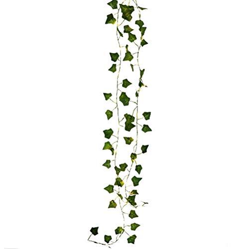 Ivy Vine String Lights, Artificial Plants LED String Light,Green Leaf Vine Battery Operated Fairy Lights Garland Wreath Lamp Hanging Lighting for Home Garden Wedding Decor