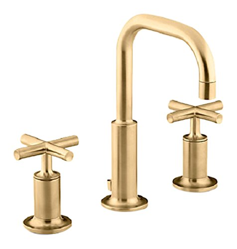 Kohler K-14406-3-BGD Purist Widespread Bathroom Sink Faucet with Low Cross Handles and Low Gooseneck Spout, Vibrant Moderne Brushed Gold