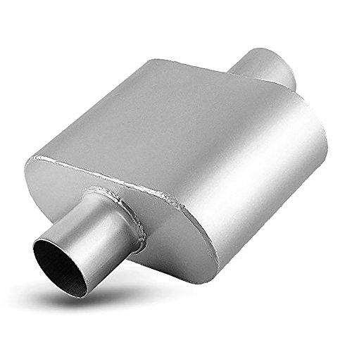 2.5 Inch Single Chamber Muffler, AUTOSAVER88 2-1/2 Universal Race Muffler Single Inlet Single Outlet High Flow Muffler, chrome,'12.8'' overall length'