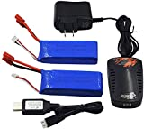 Blomiky 2 Pack 7.4V 2000mAh Lipo Battery Banana Plug and Charger fit for DRC-446 and S yma X8C X8W Quadcopter X8C Battery 2