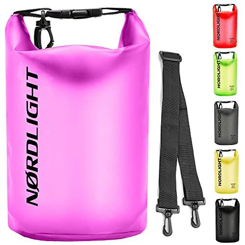 Dry Bag 10l Wasserdichter Beutel - (Pink) | Packsack mit Tragegurt, Strandsafe Dokumententasche Für, Strand, Kanu, Stand Up Paddling, Wandern, Kajak, Tauchen, Angeln, Schwimmen, Segeln, Surfen