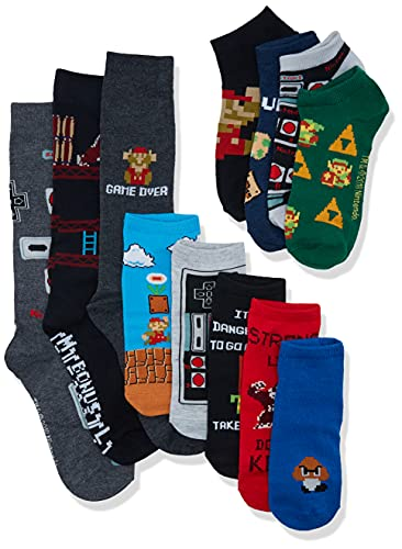 Nintendo unisex-adult's Classic 12 Days Advent Box, assorted dark, Fits Sock Size 9-11 Fits Shoe Size 4-10.5 (Girls/Womens) & Fits Shoe Size 4-9 (Boys)
