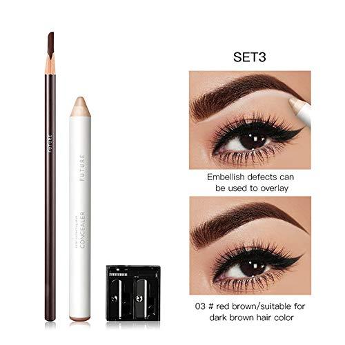 Xiton 1PACK 2 en 1 Long Lasting Crayon Sourcils Concealer Pen Set Couleur Brow naturel Maquillage Brow Set professionnel avec Sharpener (03)