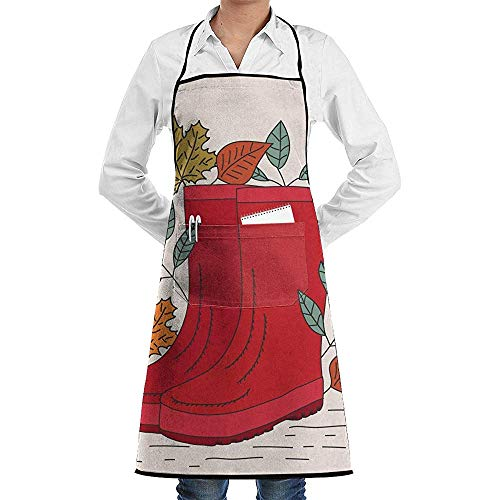 Beibao-shop Gummistiefel Faction Unisex Kitchen Cooking Garden ApronSewing Pocket Waterproof Chef Aprons