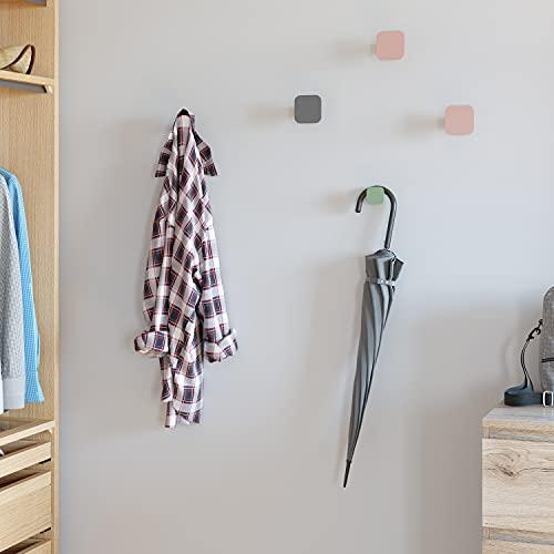 4PCS Ganchos de Pared Decorativos y Hermosos Perchero de Montaje en Pared para Ropa Toalla para Entrada Dormitorio Baño y Cocina Cuadrados