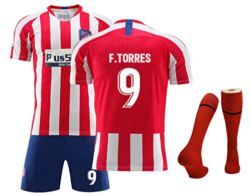 Fußballtrikots für Jungen, Kinder, Griezmann 7 Ñíguez 8 Koke 6 Home Swingman Jersey, Wettkampfkostüm Set Fußball-Kits, T-Shirt + Shorts + Socken-Torres 9-16