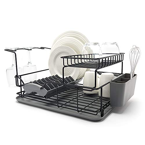 simplywire - Premium Two Tier Dish Drainer - Removable Over Sink Plate Rack - Wine Glass Holder