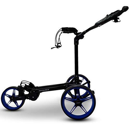 tour made Haicaddy Travel Flat HC1 3-Rad Push-Trolley Golf-Trolley Golf-Caddy (schwarz-blau) - 2