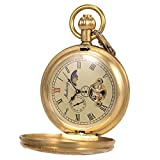 Orologio da tasca - Caso di rame puro ManChDa Vintage Engraved Steampunk vapore treno ferrovia...