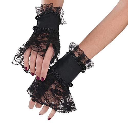 NET TOYS Gothic Armstulpen mit Spitze - Schwarz - Aufregendes Damen-Kostüm-Zubehör Ärmelbündchen Barock - Passend gekleidet für Halloween & Kostümfest