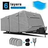 RVMasking 2020 Upgraded 6 Layers Top Travel Trailer RV Cover Fits 20' - 22' RVs, Breathable Waterproof Anti-UV Ripstop Camper Cover with 4 Tire Covers + 2 Staps + Tongue Jack Cover