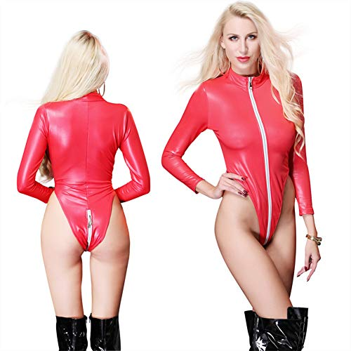 JYCDD Women Wetlook Patent Leather See Through Mesh Splice Zipper Open Crotch High Cut Thong Bodysuit Swimsuit,Red,XXL