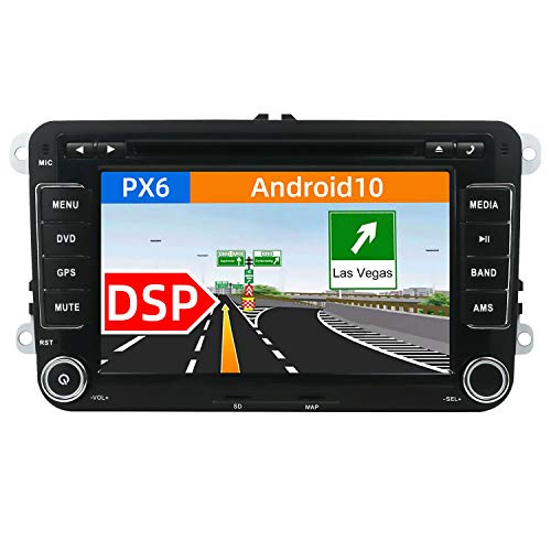 JOYX PX6 DSP Android 10 Autoradio Passt für VW Passat/Golf/Skoda/Seat - 4G+64G - Rückfahrkamera Canbus KOSTENLOS - 2 Din 7 Zoll -Mit HDMI 4K-Video AHD-Kamera DAB Lenkradsteuerung 4G WiFi BT5.0 Carplay