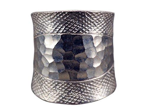 NicoWerk Silberring Gehämmert Breit Vintage Struktur Ring Silber 925 Verstellbar Damenringe Damen Schmuck Sterling SRI245