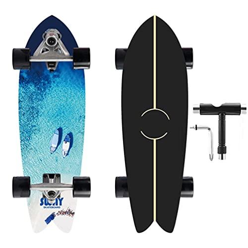 VOMI Skateboard Cruiser Land Surfskate 32 '' Tabla Completa, Penny Board Carver Tabla De Surf, para Principiantes Patinetas Completas Adultos Niños Scooer Completo Surfing Kiddy Board ABEC-11,A
