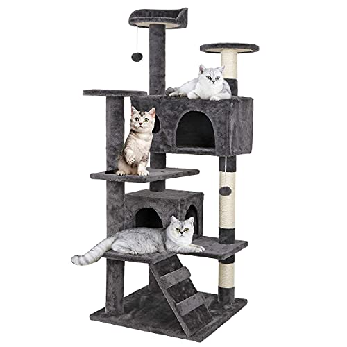 ZENY 53 inches Cat Tree with Sisal-Covered Scratching Posts and 2 Plush Rooms Cat Furniture for Kittens
