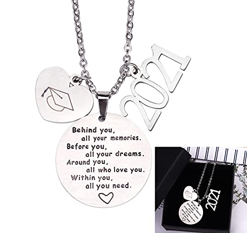 2021 Graduation Gift Necklace - Congrats Grad Stainless Steel Jewelry for Graduates