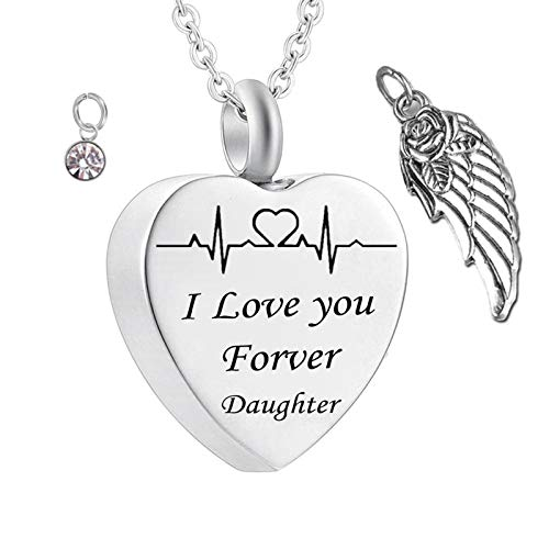 Daesar Stainless Steel Necklace for Women and Men Ashes Necklace Angel Wings ECG Necklace Engraved I Love You Forever Daughter Heart Necklace Birthstones April