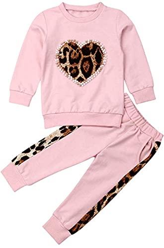 Carolilly 2 Piezas Bebé Traje Deportivo de Sudadera y Pantalones para Niña Conjunto de Camiseta Rosa y Pantalón Chándal Suit de Algodón (1-6 años)