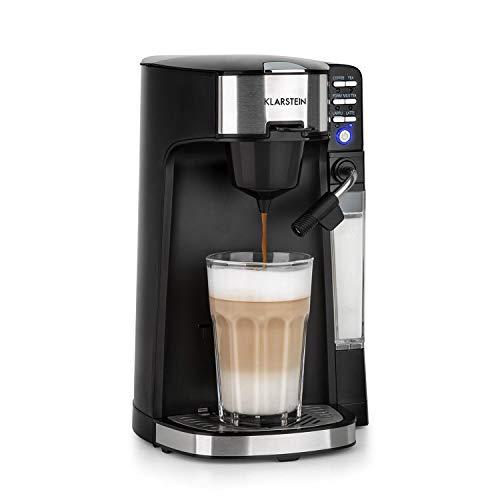 Klarstein Baristomat Heißgetränkeautomat mit integriertem Milchaufschäumer- 2-in-1 Kaffee-Maschine,1435W, 350ml Milchbehälter, zwei Brühgruppen, Kaffee, Tee, Cappuccino & Latte Macchiato, pianoschwarz