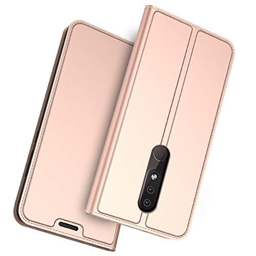 Scheam Cover Nokia 4.2 Custodia Slim Libro Design Wallet Caso Luxury Pelle Leather Magnetic Flip Stand Protective Cover with Portafoglio Card Slot for Nokia 4.2 (Oro Rosa)