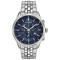 Citizen Men's Eco-Drive Chronograph Stainless Steel Watch with Date, AT2141-52L - Round watch with blue sunray dial featuring three subdials, placed indices, baton hands, and date window at four o'clock 42 mm stainless steel case with anti-reflective sapphire dial window