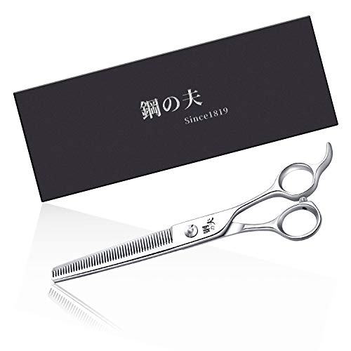 "7.0"" Pet Grooming Scissors,Curved Scissors/Thinning Shears,Made of Japanese 440C Stainless Steel, Strong and Durable for Pet Groomer or Family DIY Use (Silver-Tooth Shear)"