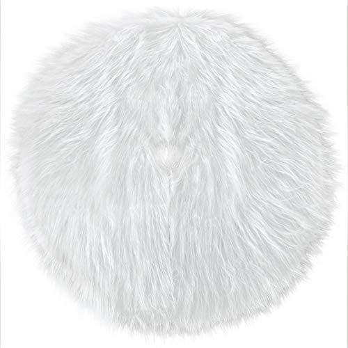 Falda de Árbol de Navidad de Piel Sintética Blanca Falda de Árbol de Nieve para Decoraciones Navideñas (50 cm)