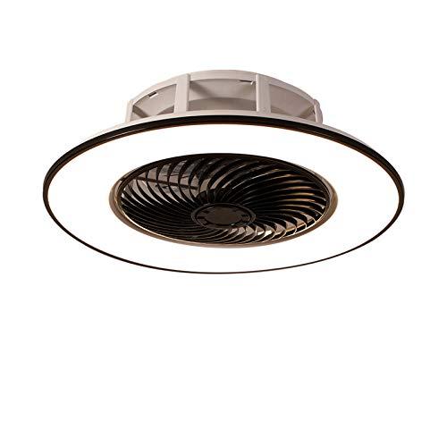 Lámpara De Techo LED Con Ventilador Invisible Moderno Ventilador Ultra Silencioso Lámpara 3 Luces Colores Y Velocidades Del Viento Regulable Mando A Distancia Dormitorio Sala Estar Ø56cm,Negro